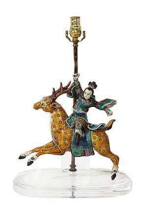 (#1988) Chinese Figure Riding a Deer Mounted as a Lamp