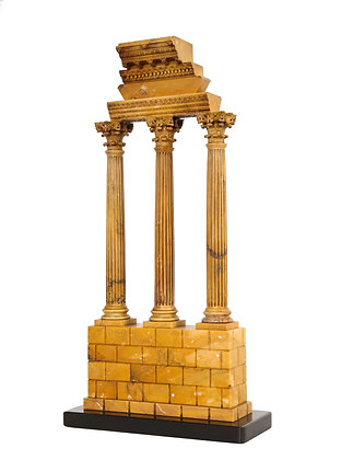 (#2076) Carved Giallo Antico Grand Tour Model of the Temple of Castor and Pollux