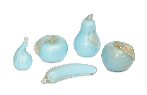 (#1519) A Collection Murano Glass Blue Fruit by  Alfredo Barbini