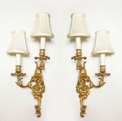 (#2030) Pair of Louis XV Style Bronze Two Light Sconces