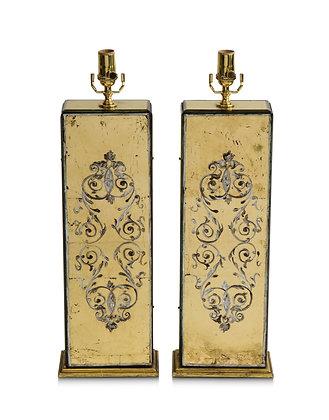 (#1685) A Pair of Eglomisé Lamps by Maison Jansen
