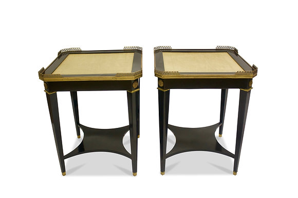 (#1024) A Pair of Leather Topped Side Tables by Maison Jansen