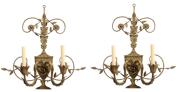 (#1977) Pair of Painted Tole 2 Light Sconces