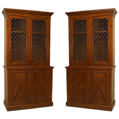(#1450) A Pair of Charles X Style Flame Mahogany Bookcases