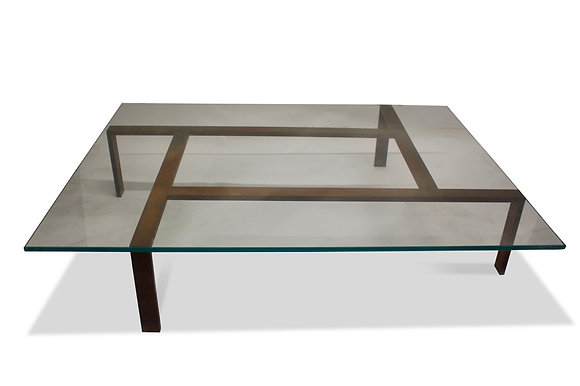 (#2049) Iron and Glass Coffee Table