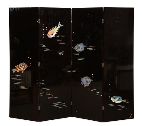 "(#1541) ""Poissons"" Lacquer Screen, by Jallot"