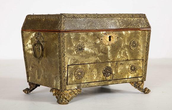 (#2080) Regency Brass Veneered Letter Box