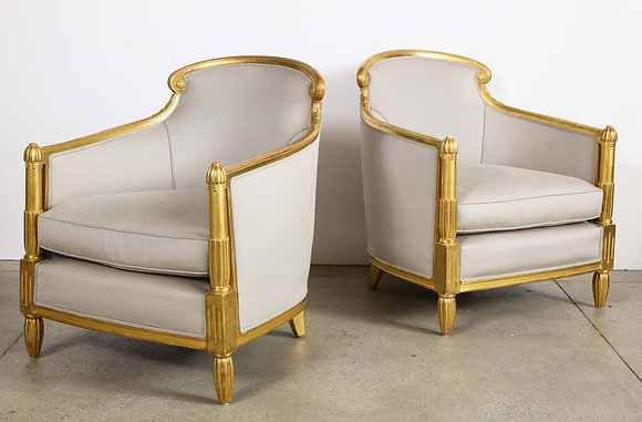 (#2097) Pair of French Art Deco Giltwood Bergeres, attributed to Sue et Mare