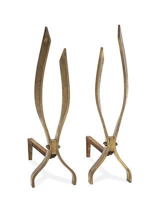 (#1111) Pair of Bronze Andirons