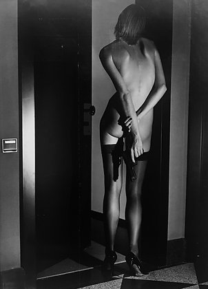 (#1356) Girl With Gun, Wolford Publicity, 1995, Helmut Newton