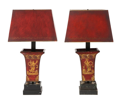 (#1961) Pair of Empire Red Tole Peinte Cachepots Mounted as Lamps
