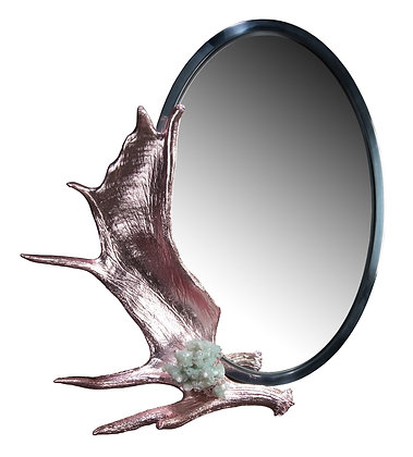 (#2002) Pink Chromed Moose Paddle Mirror by Studio Greytak
