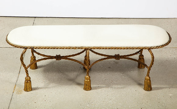 (#1746) Rope and Tassel Upholstered Gilt Metal Bench
