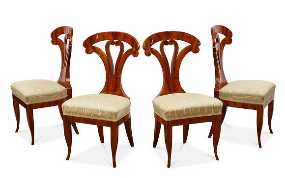 (#1542) A Superb Set of 4 Biedermeier Side Chairs, Attributed to Josef Danhauser
