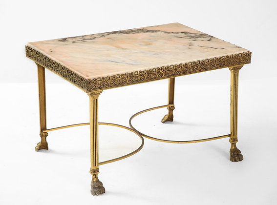 #1932) Late 19th Century Marble Top Brass Coffee Table