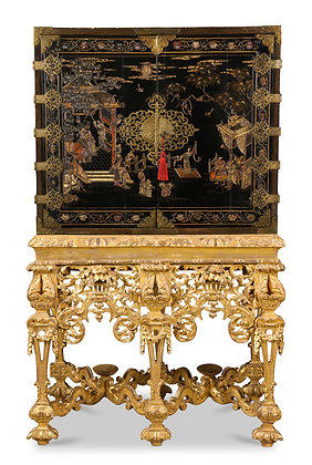 (#1630) A Chinese Brass-Mounted Lacquer Cabinet on a Charles II Gilt-wood Stand