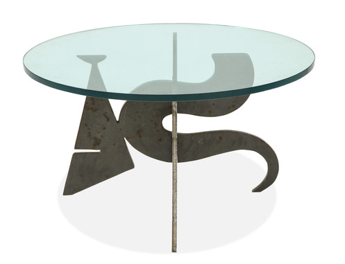 The Glass Topped Coffee Table Comprising Two Pieces Of Interlocking Bronze  Forming A Three Dimensional Sculptural Base By Italian Designer Pucci De  Rossi ...