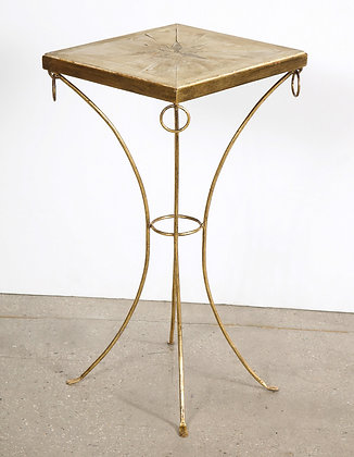 (#2103) French Art Deco Gilt Iron and Parchment Pedestal Table