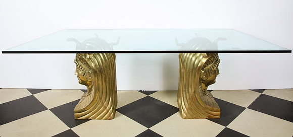 (#1704) Superb Bronze Pharaoh Head Dining Table