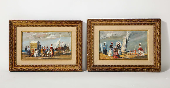 (#2017) Pair of Oil Paintings - The Beach by M. P. Müché