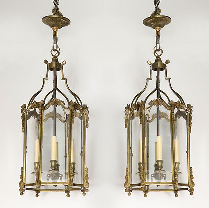 (#2034) Pair of French Brass Hall Lanterns