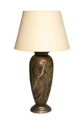 (#1485) A Superb French Art Deco Deanderie Lamp, by M. Poincet