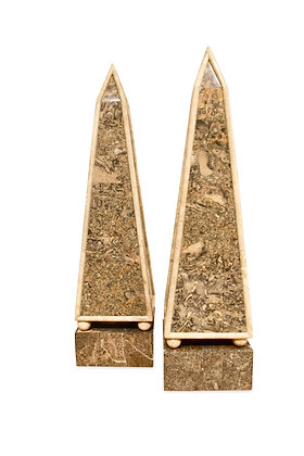 (#1486) Pair of Modernist Tessellated Stone Obelisks, by Maitland Smith