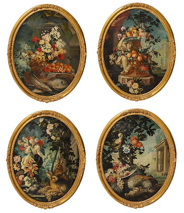 (#2090) Set of 4 Oil Paintings Depicting The Four Seasons *priced upon request
