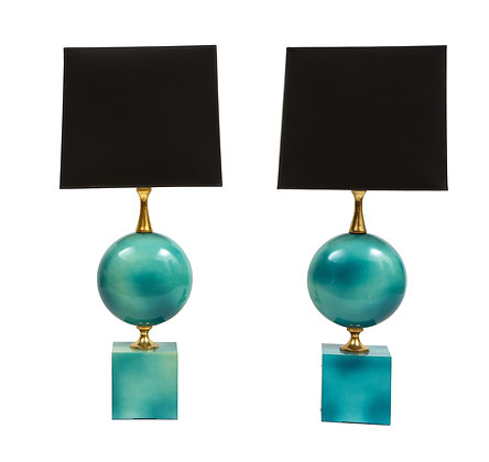 (#1596) Pair of Enameled Table Lamps by Maison Barbier