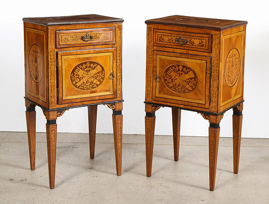 (#2089) Pair of Italian Neoclassic Marquetry Commodes
