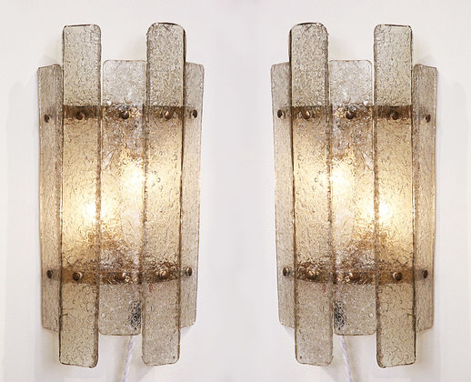 (#1918) Pair of Murano Glass Wall Sconces