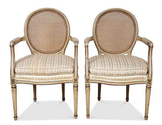 (#1818) A Pair of Louis XVI Arm Chairs