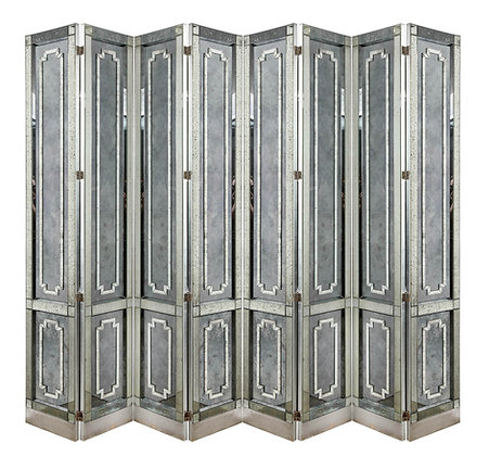 (#2100) Mid-Century 8-Panel Antiqued Mirror Screen