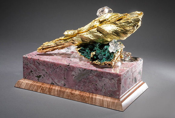 (#1853) Jewel and Gold Leaf Decorated Sierra Madre Agate Box by Studio Greytak