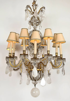 (#2055) Grand Scale Rock Crystal and Doré Bronze Chandelier by Maison Bagues