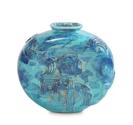 (#1098) A Wiener Werkstätte  Circular Vase by Karoline Jacobsen