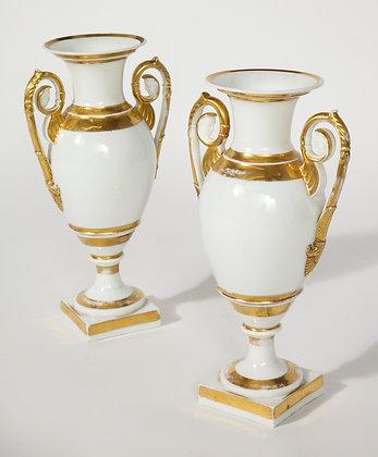 (#1966) A Pair of Swedish Porcelain Urns