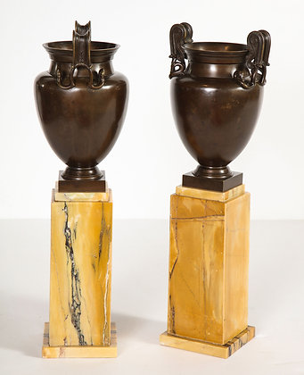 (#2082) Pair of French Empire Bronze Urns on Siena Marble Stands
