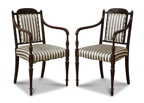 (#1447) A Pair of Anglo- Indian Arm Chairs