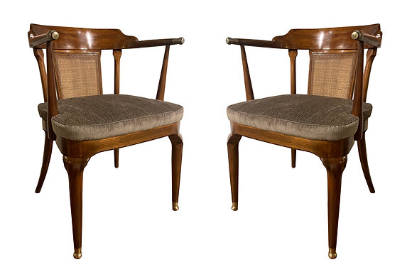 (#2047) A Rare Pair of Walnut Arm Chairs by Mastercraft