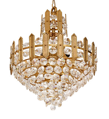 (#1510) Embossed Brass and Crystal Chandelier by Palwa