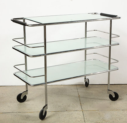 (#1257) Three Tiered Chrome, Glass and Leather Bar Cart