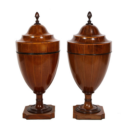 (#1912) A Matched Pair of English Mahogany Cutlery Urns