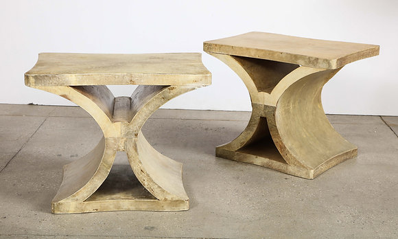 (#2095) Pair of French Parchment Low Tables
