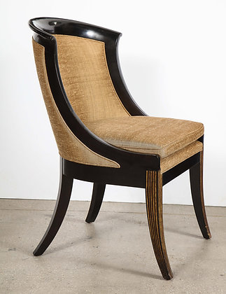 (#2075) French Empire Style Black Lacquer Chair
