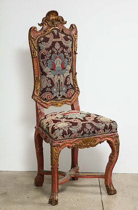 (#2021) Italian Painted and Gilt  Rococo Chair