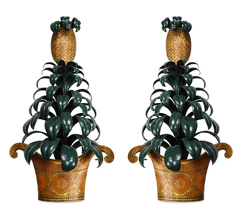 (#1506) Pair of Painted Tole Pinapple Sconces