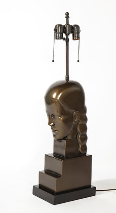 (#1989) Art Deco Style Bronze Bust Mounted as a Lamp