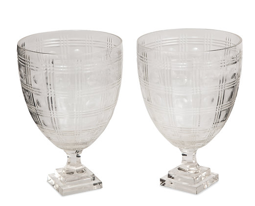 (#1512) Pair of Cut Crystal Urns