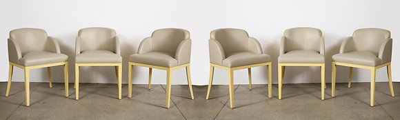(#2096) Set of 6 Painted and Leather Upholstered Chairs